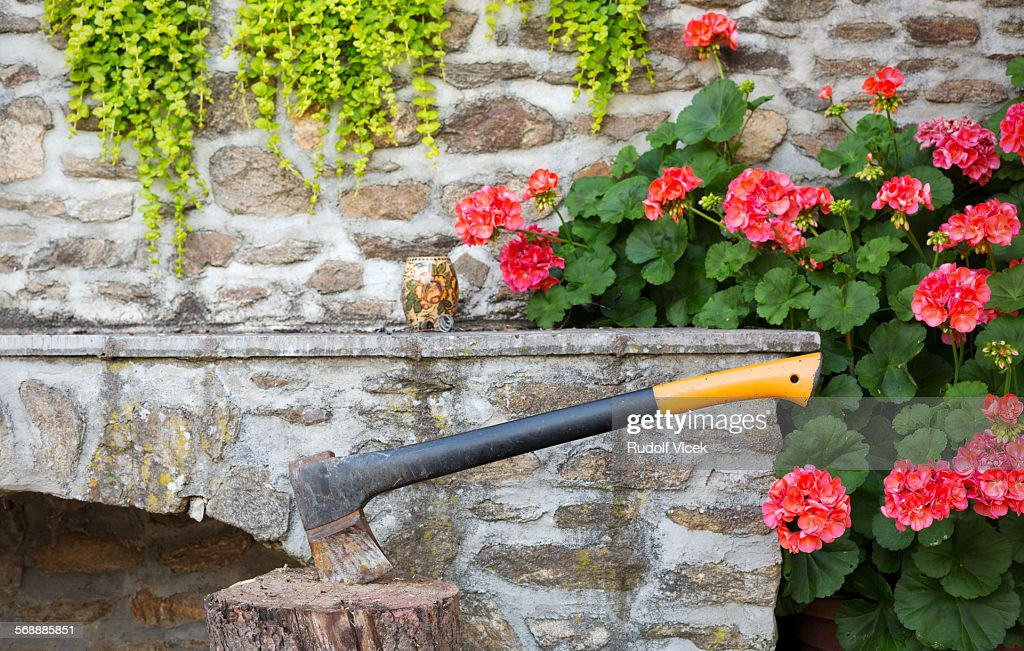 Axe jammed in chopping block : Stock Photo