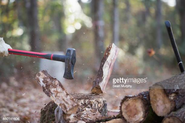 axe splitting wood in mid-air - chopping stock pictures, royalty-free photos & images