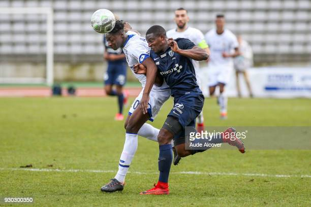 Axel Bakayoko of Sochaux and Ousmane Sidibe of Pfc during the French Ligue 2 match between Paris FC and Sochaux at Stade Charlety on March 10 2018 in...