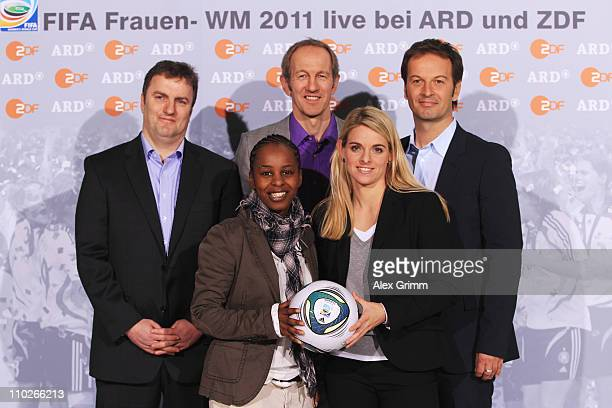 Axel Balkausky, Shary Reeves, Ralf Scholt, Nia Kuenzer and Claus Lufen pose during a photocall with the ARD and ZDF TV presenters for the FIFA Women...