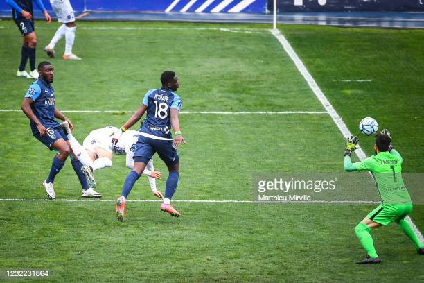 Axel BAMBA of Paris FC and Youssoupha NDIAYE of Paris FC during the Ligue 2 match between Paris FC and Troyes at Stade Charlety on April 10, 2021 in...