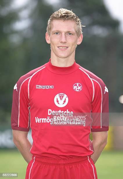 Axel Bellinghausen looks in the camera during the team presentation of 1FC Kaiserslautern for the Bundesliga season 2005 2006 on July 10 2005 in...
