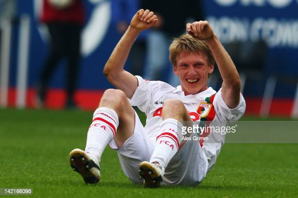 Axel Bellinghausen of Augsburg celebrates after the Bundesliga match between FC Augsburg and 1. FC Koeln at SGL Arena on March 31, 2012 in Augsburg,...
