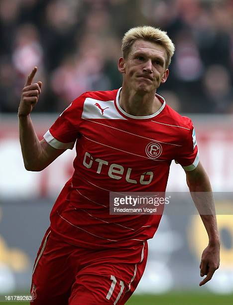 Axel Bellinghausen of Duesseldorf celebrates scoring the opening goal during the Bundesliga match between Fortuna Duesseldorf 1895 and SpVgg Greuther...