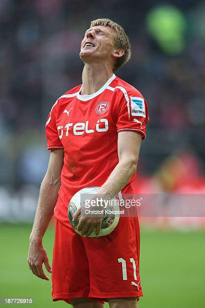 Axel Bellinghausen of Duesseldorf looks thoughtful during the Second Bundesliga match between Fortuna Duesseldorf and SV Sandhausen at EspritArena on...