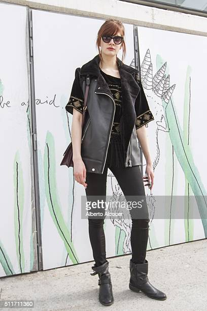 Axel Borowska wears Zara jacket Zara trousers Mango blouse Aldo shoes and Coach handbag during Mercedes Benz Fashion Week at Ifema on February 19...