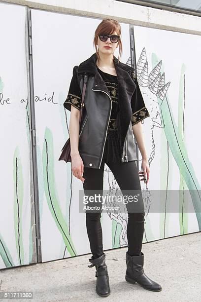 Axel Borowska wears Zara jacket Zara trousers Mango blouse Aldo shoes and Coach handbag during Mercedes Benz Fashion Week at Ifema on February 19...
