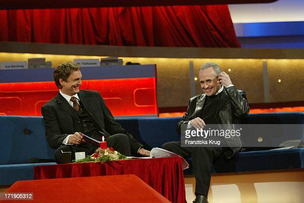 Axel Bulthaupt Und Jose Carreras Bei Der Generalprobe Zur Ard Benefiz Sendung Jose Carreras Gala 2003 In Leipzig Am 181203
