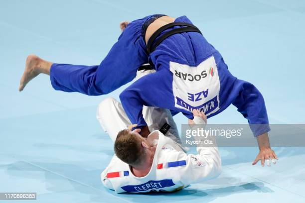 Axel Clerget of France and Mammadali Mehdiyev of Azerbaijan compete in the Men's -90kg repechage on day five of the World Judo Championships at the...