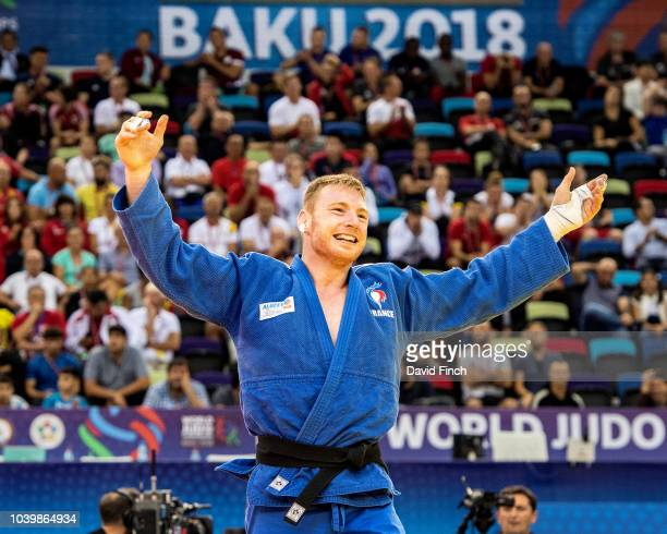 Axel Clerget of France is ecstatic after defeating Eduard Trippel of Germany to win the u90kg bronze medal during day five of the 2018 Judo World...