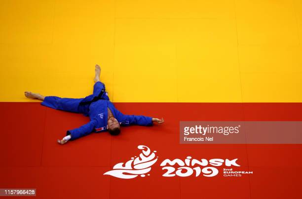 Axel Clerget of France reacts after his match against Noel Van't End of the Netherlands in the Men's 90kg Round of 16 match during day four of the...