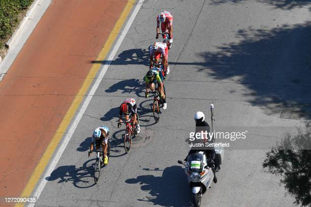 Axel Domont of France and Team AG2R La Mondiale / Carl Fredrik Hagen of Norway and Team Lotto Soudal / Veljko Stojnic of Serbia and Team Vini Zabu'...