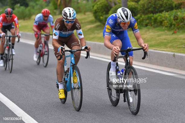 Axel Domont of France and Team Ag2R La Mondiale / Remi Cavagna of France and Team QuickStep Floors / during the 2nd Tour of Guangxi 2018 Stage 2 a...
