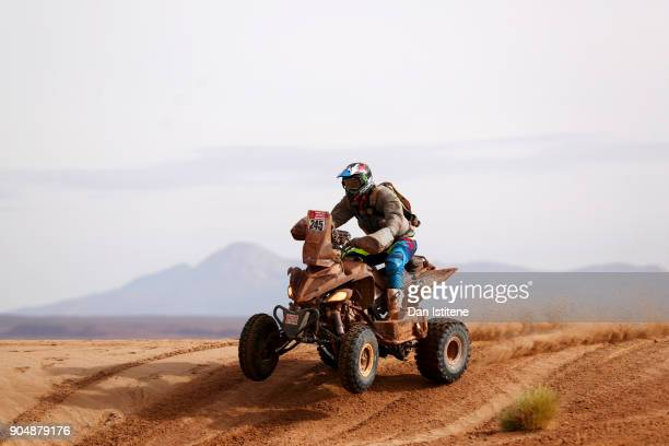 Axel Dutrie of France and Drag'On Rally rides a Raptor 700 Yamaha quad bike in the Classe GQ1 2 Roues Motrices 0 during stage eight of the 2018 Dakar...