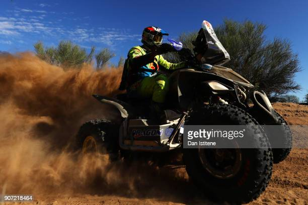 Axel Dutrie of France and Drag'On Rally rides a Raptor 700 Yamaha quad bike in the Classe GQ1 2 Roues Motrices 0 during stage thirteen of the 2018...