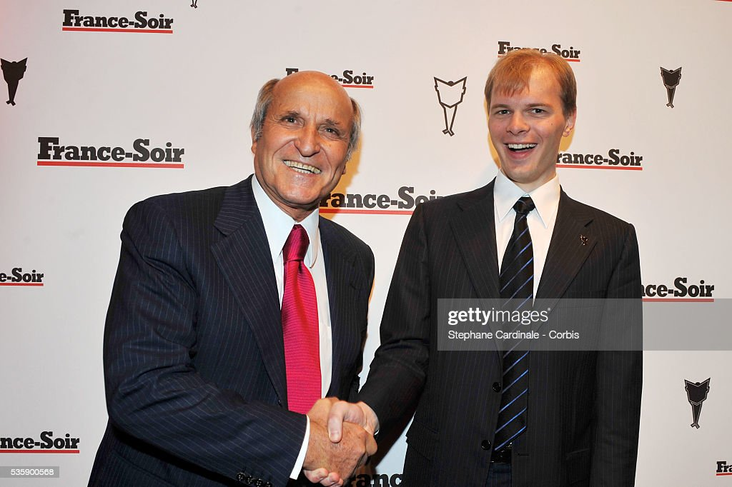 Axel Ganz and Alexandre Pougatchev attend France Soir Launch Party in Paris.