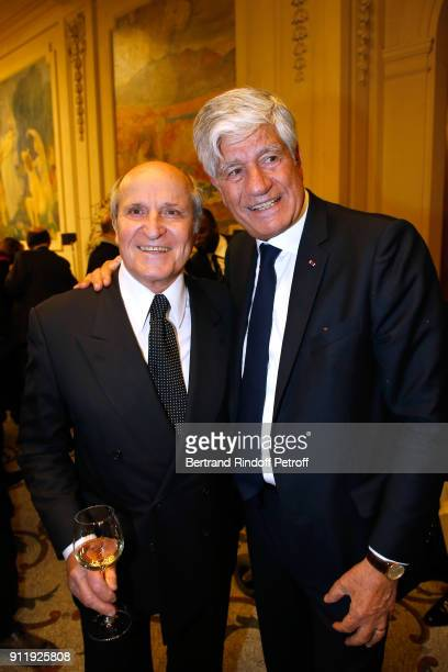 Axel Ganz and Maurice Levy attend the Tribute to ELie Wiesel by Maurice Levy X Publicis Group at La Sorbonne on January 29 2018 in Paris France