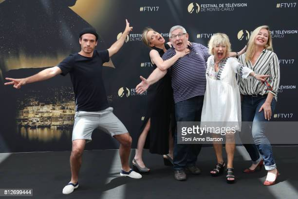 Axel Huet Charlie Bruneau Yves Pignot Marie Vincent and Jeanne Savary attend photocall for En Famille on June 17 2017 at the Grimaldi Forum in...