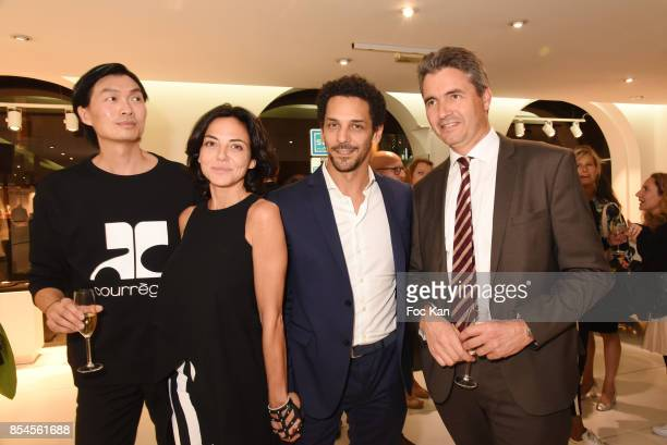 PR Axel Huyhn Sandra Zeitoun Tomer Sisley and Amaury de Bourmont from Citroen cars attend the EMehari X Courreges Cocktail Exhibition as part of the...