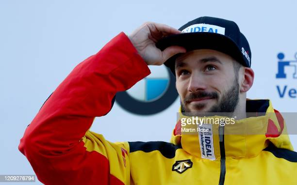 Axel Jungk of Germany celebrate the silver medal after the fourth heat for the Men's Skeleton on day eight of the BMW IBSF World Championships...