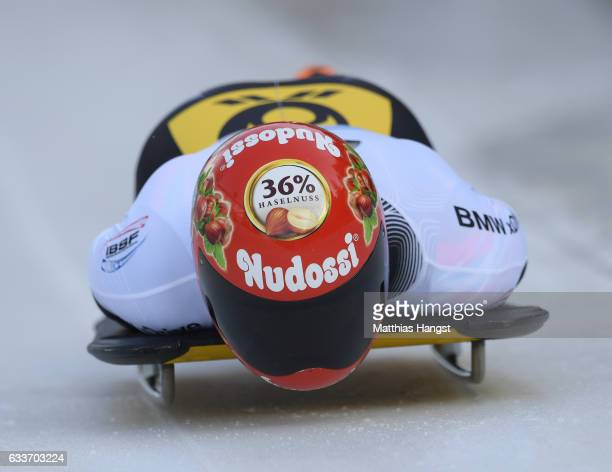 Axel Jungk of Germany competes during the Men's Skeleton first run of the BMW IBSF World Cup at Olympiabobbahn Igls on February 3 2017 in Innsbruck...