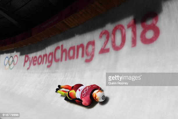 Axel Jungk of Germany slides during the Men's Skeleton heats at Olympic Sliding Centre on February 16, 2018 in Pyeongchang-gun, South Korea.