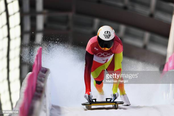 Axel Jungk of Germany slides into the finish area during the Men's Skeleton heats on day six of the PyeongChang 2018 Winter Olympic Games at the...