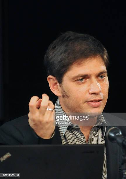 Axel Kicillof economy minister for Argentina speaks about the country's missed bond payment during a news conference in Buenos Aires Argentina on...