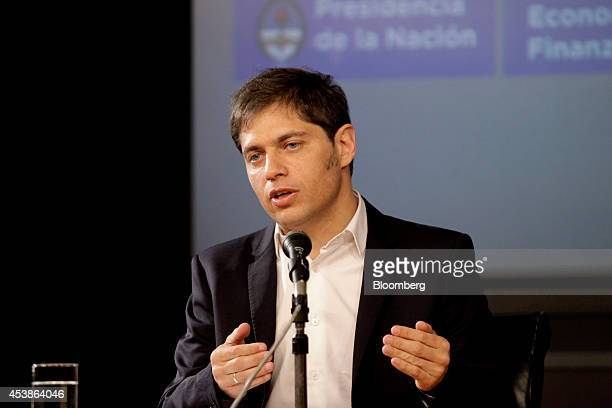 Axel Kicillof economy minister for Argentina speaks during a news conference in Buenos Aires Argentina on Wednesday Aug 20 2014 Kicillof said the...