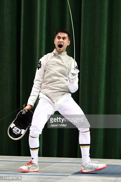 Axel Kiefer of the Notre Dame Fighting Irish celebrates after defeating Sidarth Kumbla of the Columbia Lions during the Division I Men's Fencing...