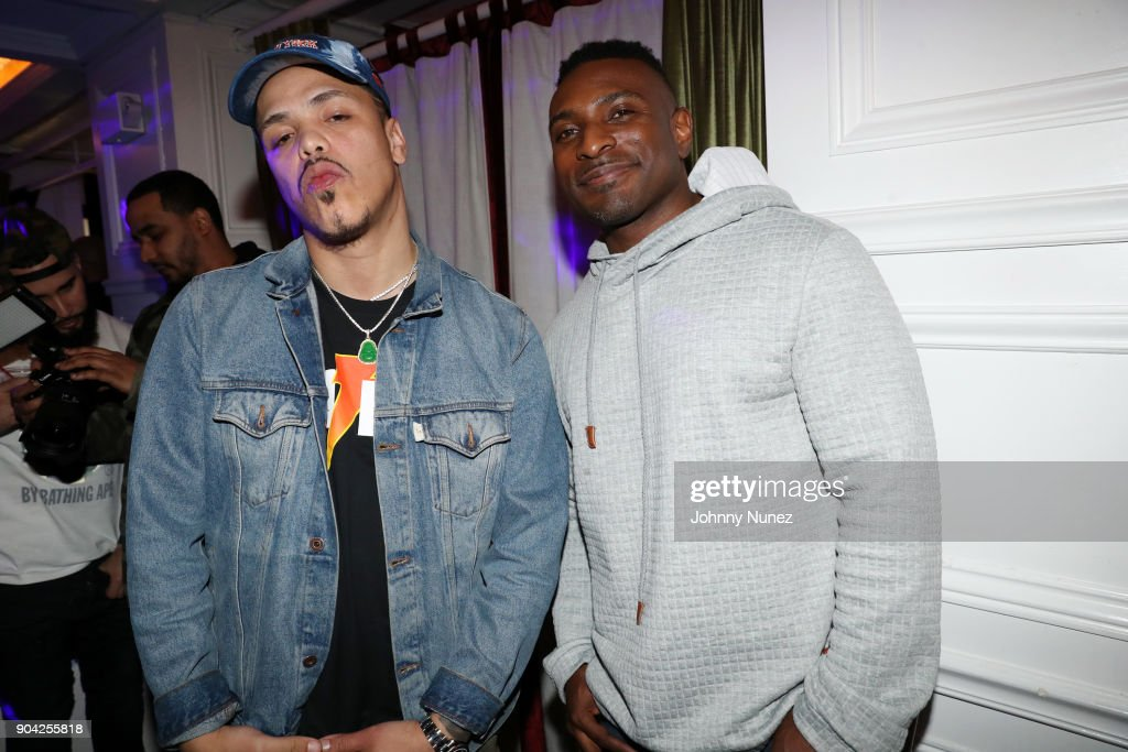 Axel Leon (L) and Younglord attend Axel Leon's Private Dinner Hosted By Steve Rifkind at Jimmy's on January 11, 2018 in New York City.
