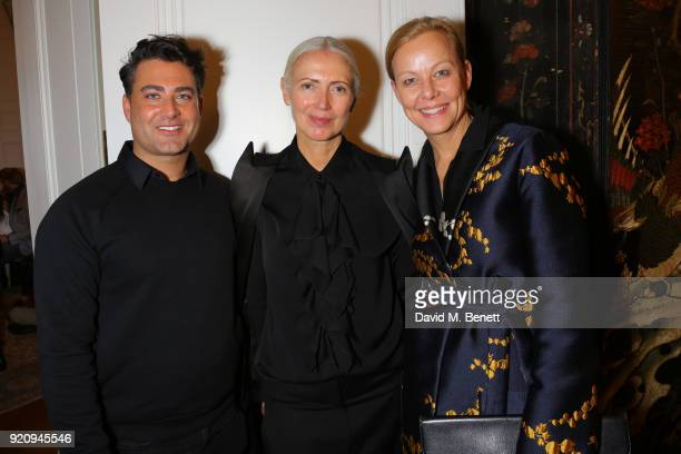 Axel Lipinski Editor in Chief Vogue Germany Christiane Arp and Tatjana Sprick attends 'An Evening of German Fashion' at the German Embassy on...
