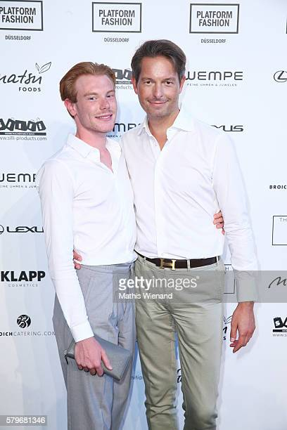 Axel Mercier and Dirk Richter attend the Thomas Rath show during Platform Fashion July 2016 at Areal Boehler on July 24 2016 in Duesseldorf Germany