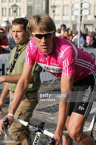 Axel Merckx of team TMobile at the start of the 2007 Liege Bastogne Liege Pro Tour cycling event in Ans Belgium on April 29 2007