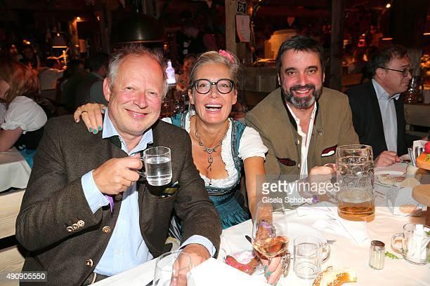 Axel Milberg and his wife Judith Milberg and Ambassador of Spain Pablo GarciaBerdoy during the Oktoberfest 2015 at Kaeferschaenke / Theresienwiese on...