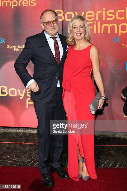 Axel Milberg and wife Judith attend the Bavarian Film Award 2014 at Prinzregententheater on January 17 2014 in Munich Germany