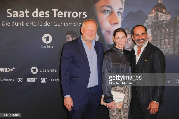 Axel Milberg Christiane Paul and Navid Negahban during the preview of the TV film 'Saat des Terrors' on November 14 2018 in Berlin Germany