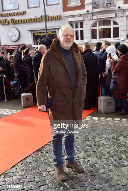 Axel Milberg during the memorial service for Jan Fedder at Hamburger Michel on January 14 2020 in Hamburg Germany German actor Jan Fedder was...