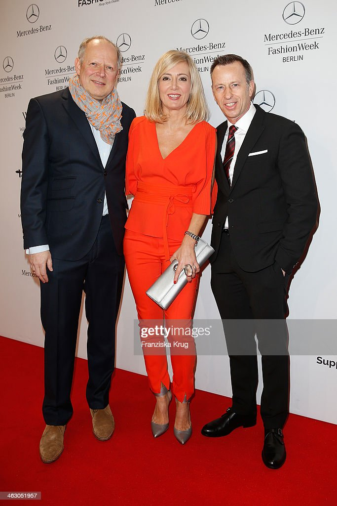 Axel Milberg, Judith Milberg and Dirk Reichert attend the Laurel show during Mercedes-Benz Fashion Week Autumn/Winter 2014/15 at Brandenburg Gate on January 16, 2014 in Berlin, Germany.