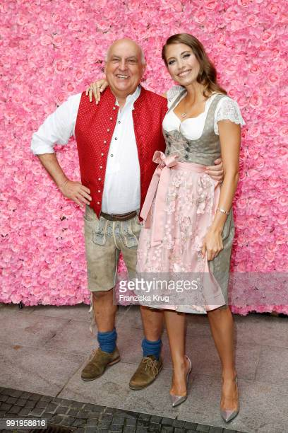 Axel Munz and Cathy Hummels during the Cathy Hummels by Angermaier collection presentation at Titanic Hotel on July 5 2018 in Berlin Germany
