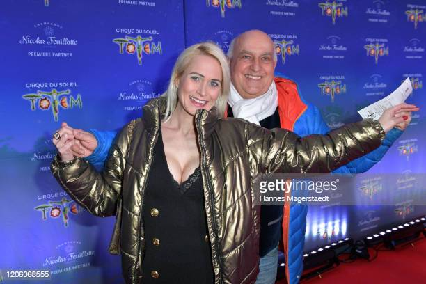 Axel Munz and his girlfriend Yvonne 'YVE' Marwan attend the premiere of Totem by Cirque du Soleil at Theresienwiese on February 13 2020 in Munich...