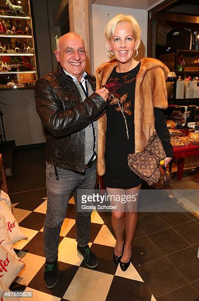 Axel Munz CEO Angermaier and his girlfriend dirndl designer Astrid Soell during the Munich Connexxxions PR XMas cocktail event at Kaefer Atelier on...