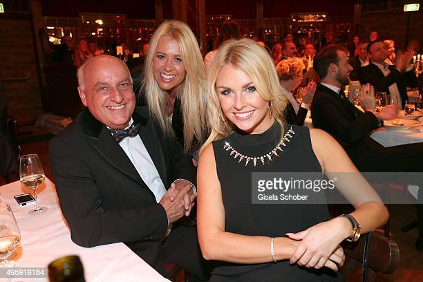 Axel Munz CEO Angermaier Ariane Jadrnicek and playmate Denise Cotte during the VIP premiere of Schubecks Teatro's program 'Herzstuecke' at...