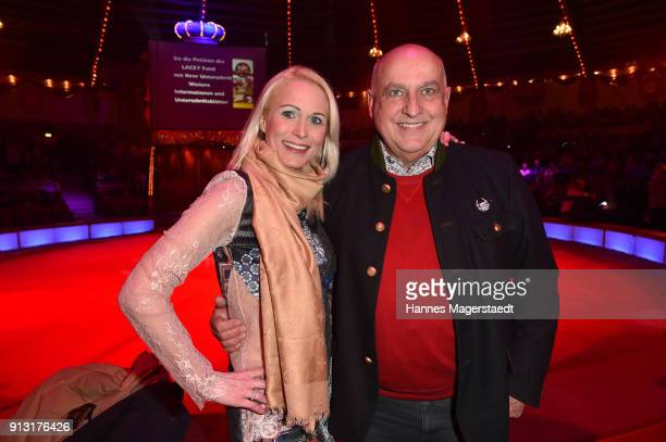 Axel Munz CEO of Angermaier Trachten and his girlfriend Yvonne 'YVE' Marwan during Circus Krone celebrates premiere of 'Hommage' at Circus Krone on...
