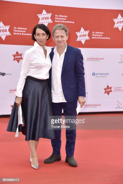 Axel Pape with wife Gioia Raspe attend the Opening Gala Of The 23 Jewish Film Festival Berlin And Brandenburg 2017 at Hans Otto Theater on July 2...
