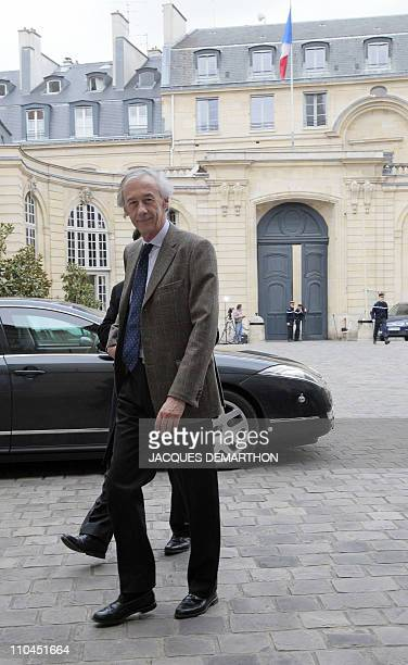Axel Poniatowski head of the Foreign Affairs commission at the French national assembly arrives for a meeting focused on Libya with France's Foreign...