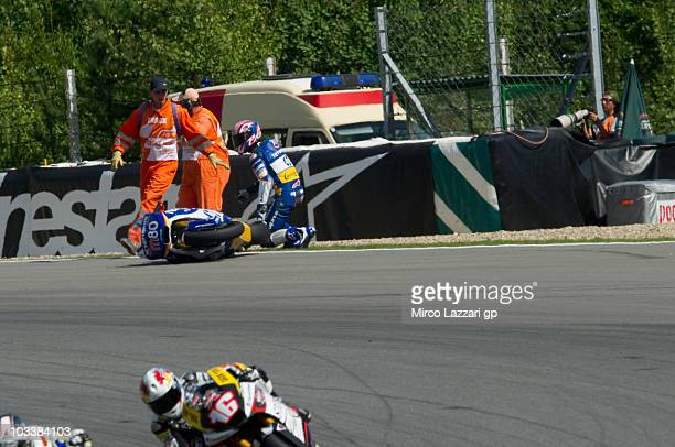 Axel Pons of Spain and Tenerife 40 Pons crashed during the qualifying practice of MotoGP of Czech Republic at Brno Circuit on August 14 2010 in Brno...