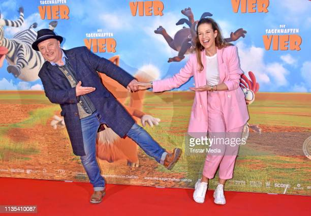 """Axel Prahl and Alexandra Neldel attend the premiere for the movie """"Die Sagenhaften Vier"""" at Kino in der Kulturbrauerei on April 6, 2019 in Berlin,..."""