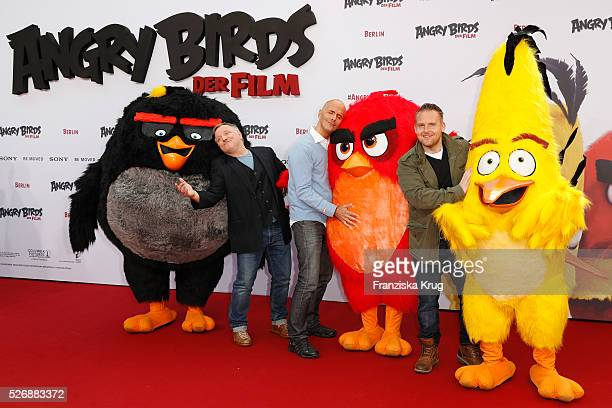 Axel Prahl Christoph Maria Herbst and Axel Stein attend the 'Angry Birds Der Film' Premiere on May 1 2016 in Berlin Germany