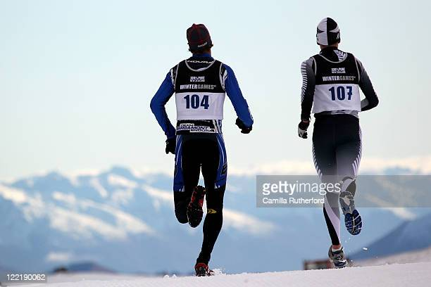 Axel Reiser of New Zealand and Andy Pohl of New Zealand compete in the Winter Triathlon during day 15 of the Winter Games NZ at Snow Farm on August...
